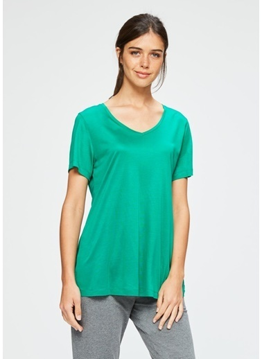 Dagi V Yaka Kısa Kollu T-Shirt Yeşil